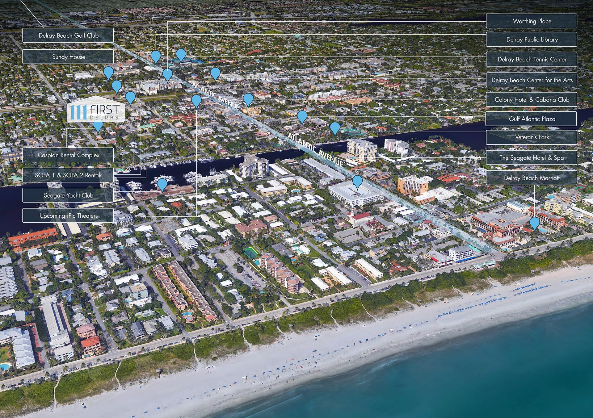 111 First Delray Aerial Location Map