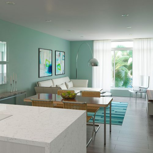 111 First Delray Kitchen & Living Room by sklar furnishings
